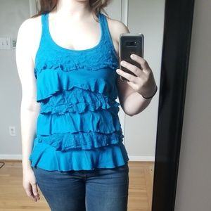 Blue Ruffle and Lace Racer-back Tank Top